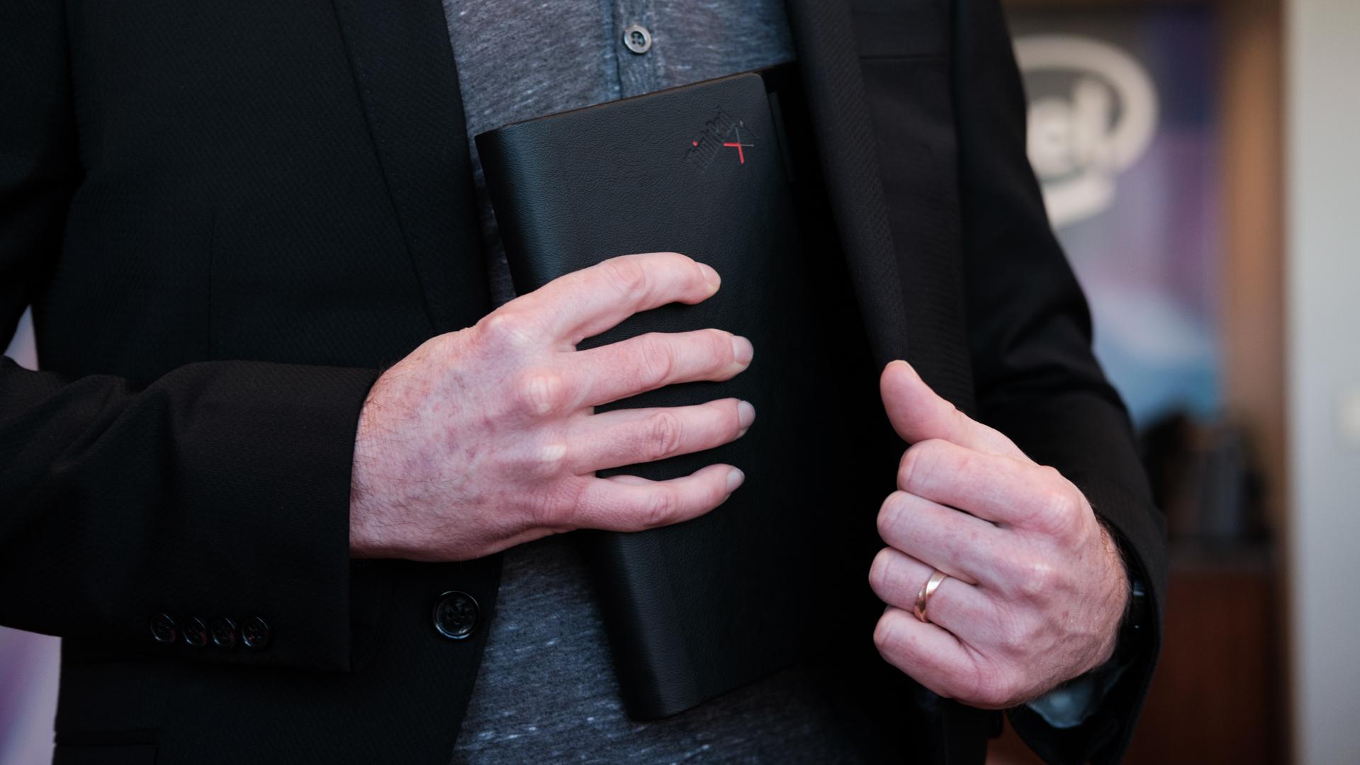 Lenovo Thinkpad X1 Fold folded in hand 2