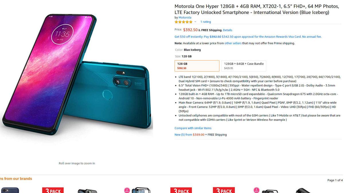 Motorola One Hyper Amazon sale page