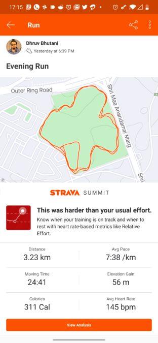 Strava run track