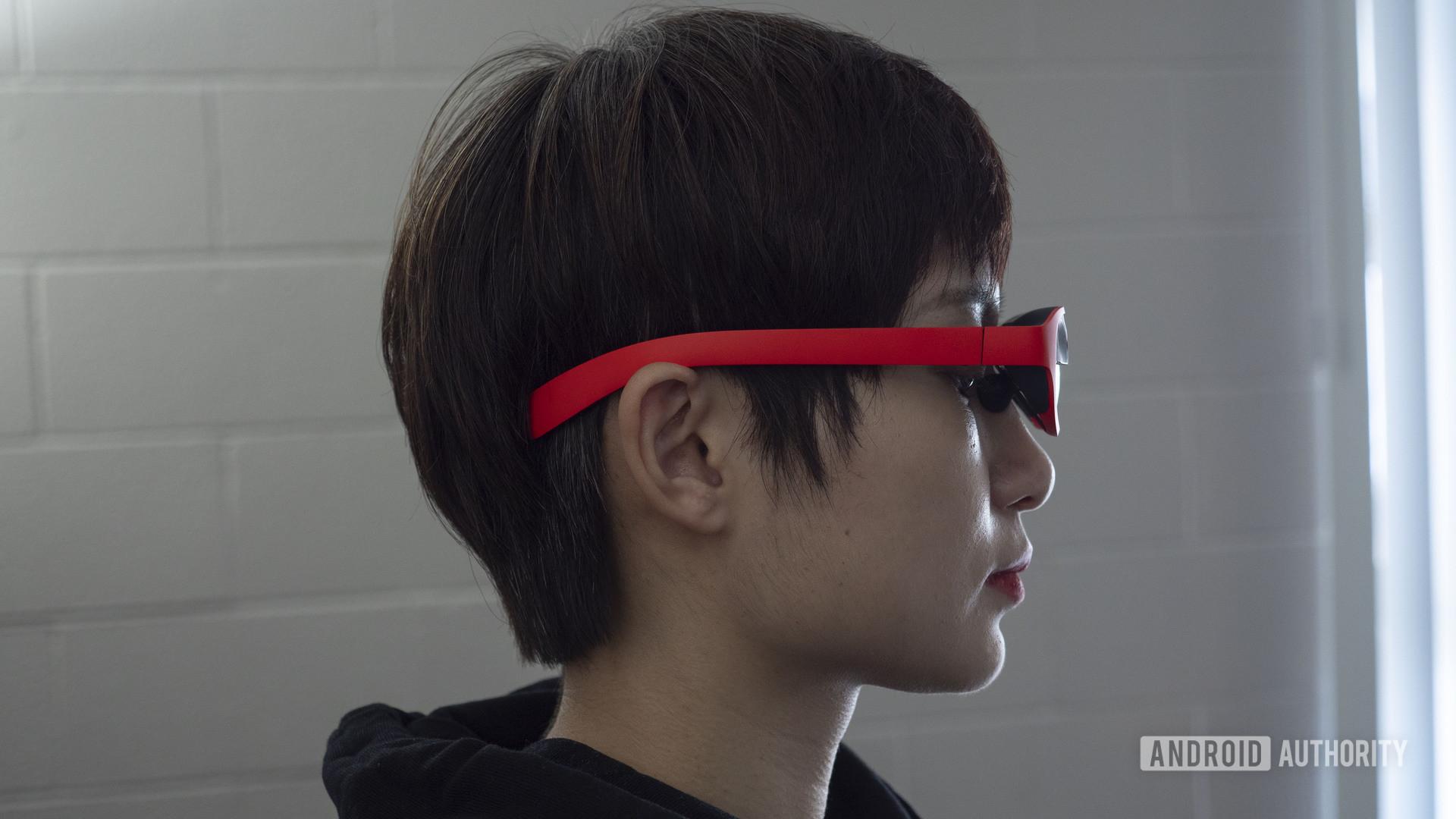 nreal nebula mixed reality glasses on person 1