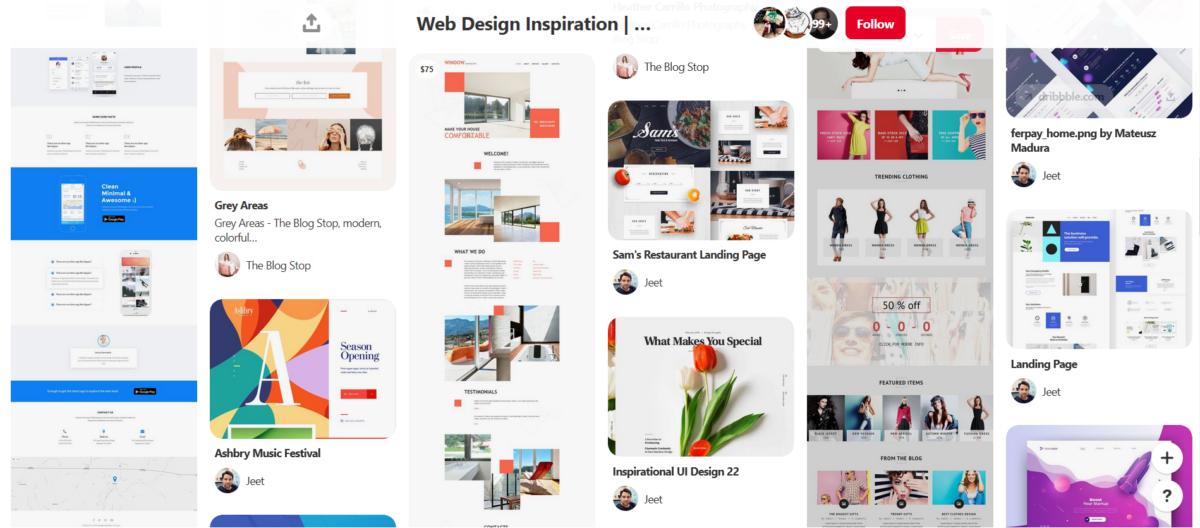 web design board Pinterest