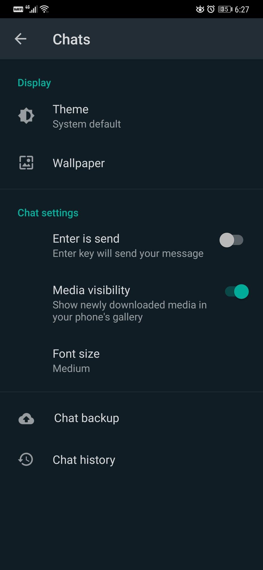 WhatsApp dark mode.