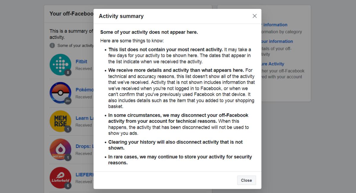 Facebook activity summary