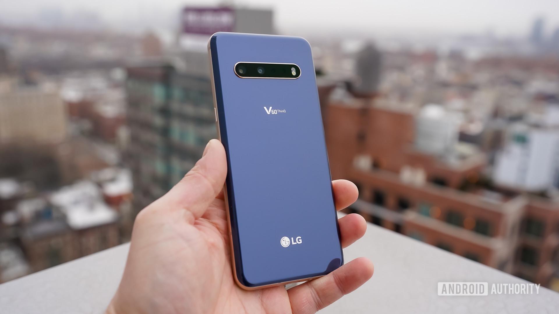 LG V60 ThinQ 5G rear panel blue
