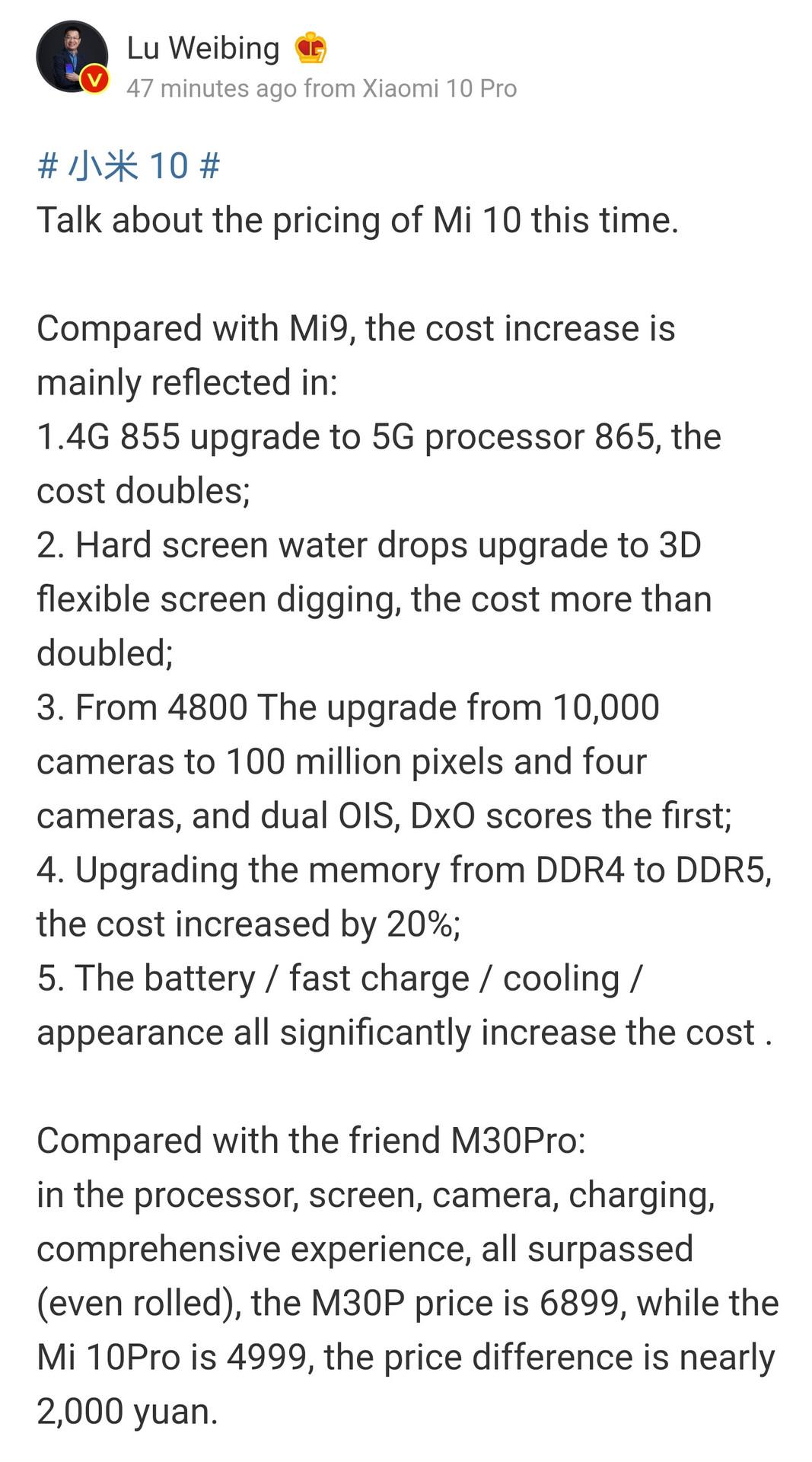 Xiaomi executive Lu Weibing talks about the Mi 10 pricing.