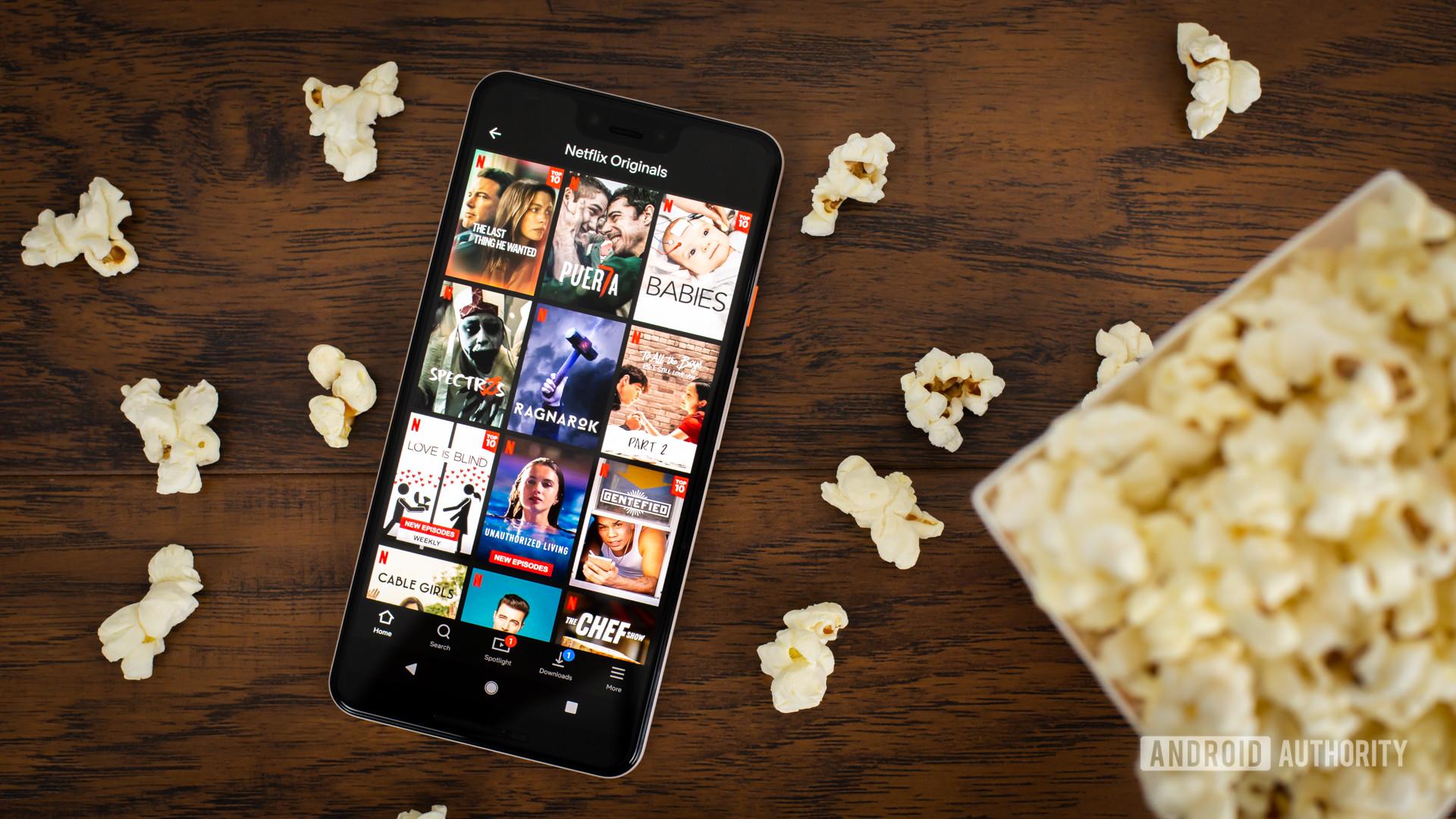 Netflix Originals next to popcorn stock photo 3