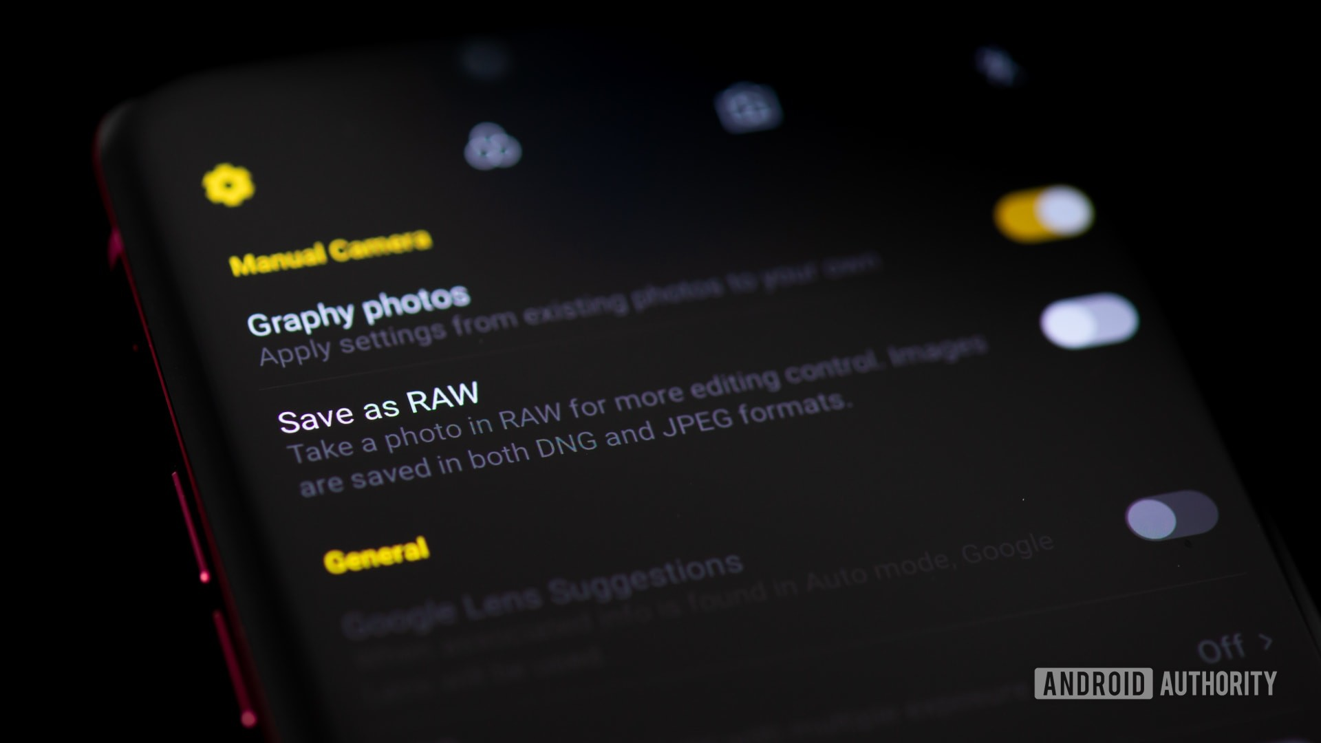 RAW photography option in smartphone camera settings