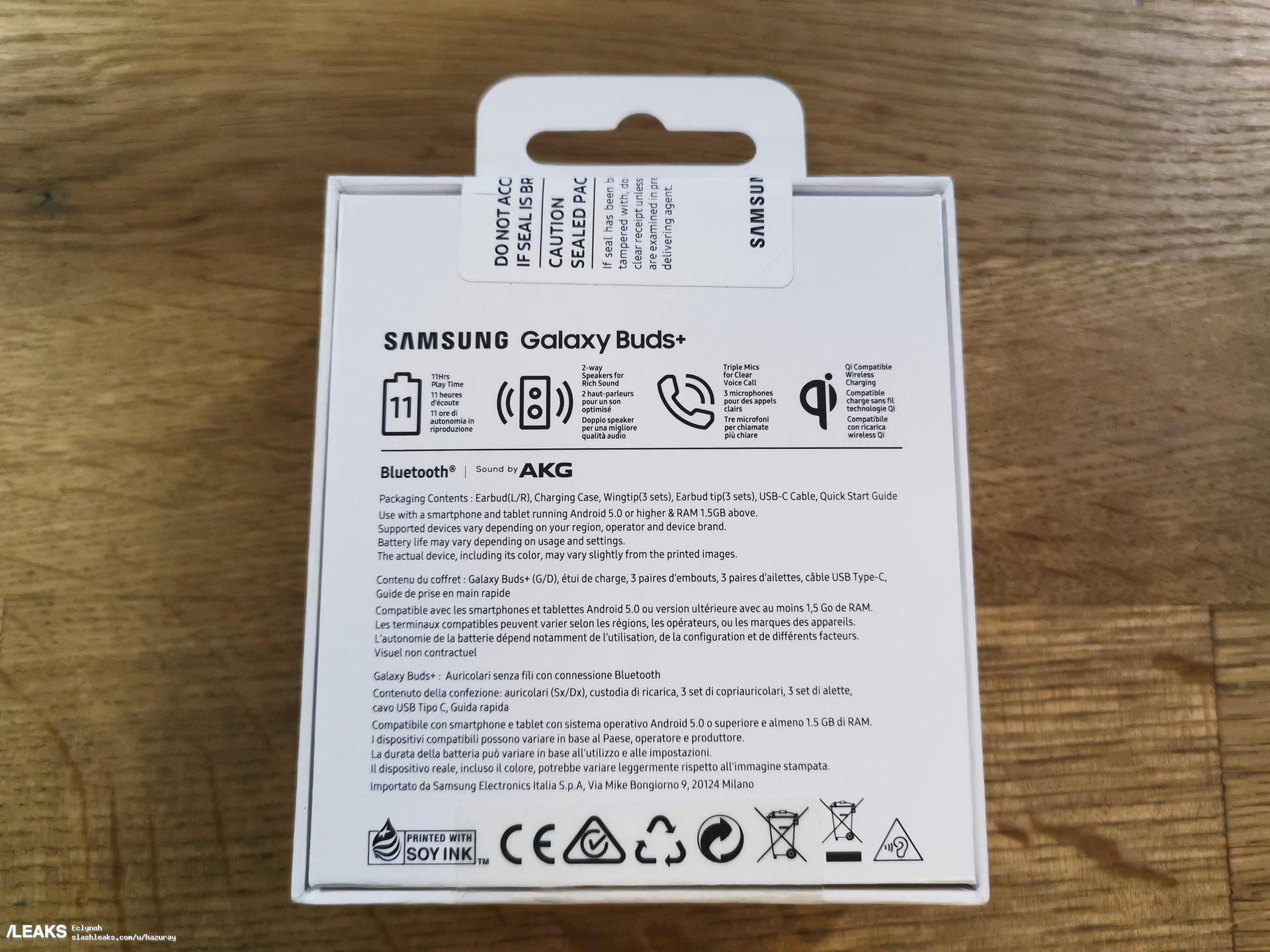 Samsung Galaxy Buds Plus retail box back