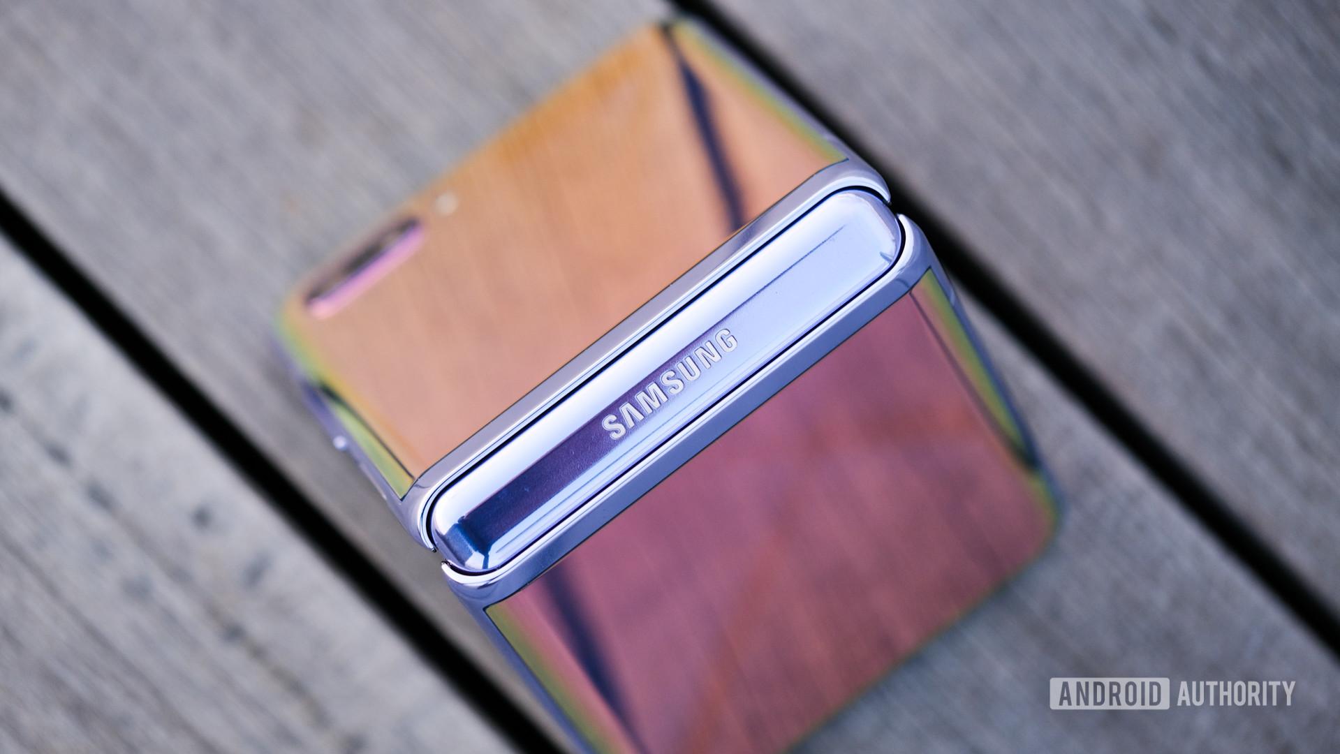 Samsung Galaxy Z Flip triangle folded on bench topdown