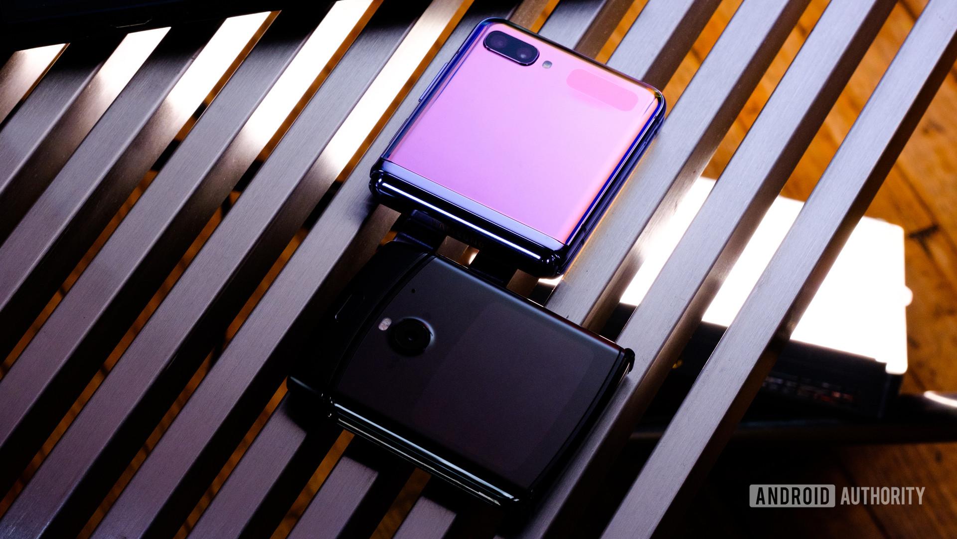 Samsung Galaxy Z Flip vs Motorola Razr folded next to each other
