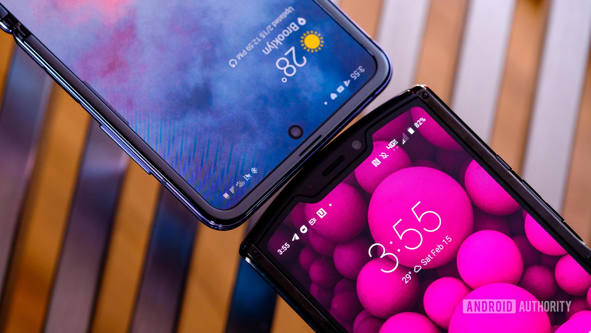 Samsung Galaxy Z Flip vs Motorola Razr tops unfolded