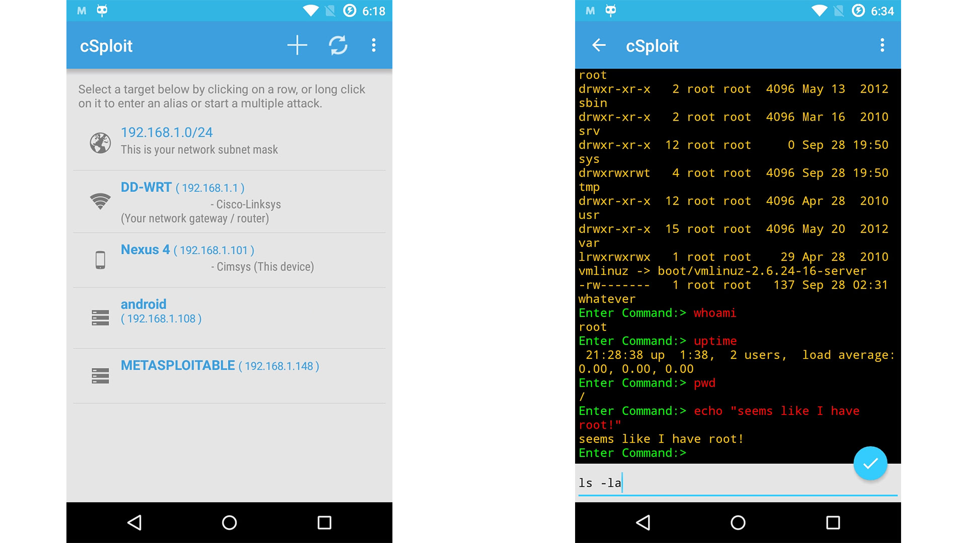 cSploit screenshot