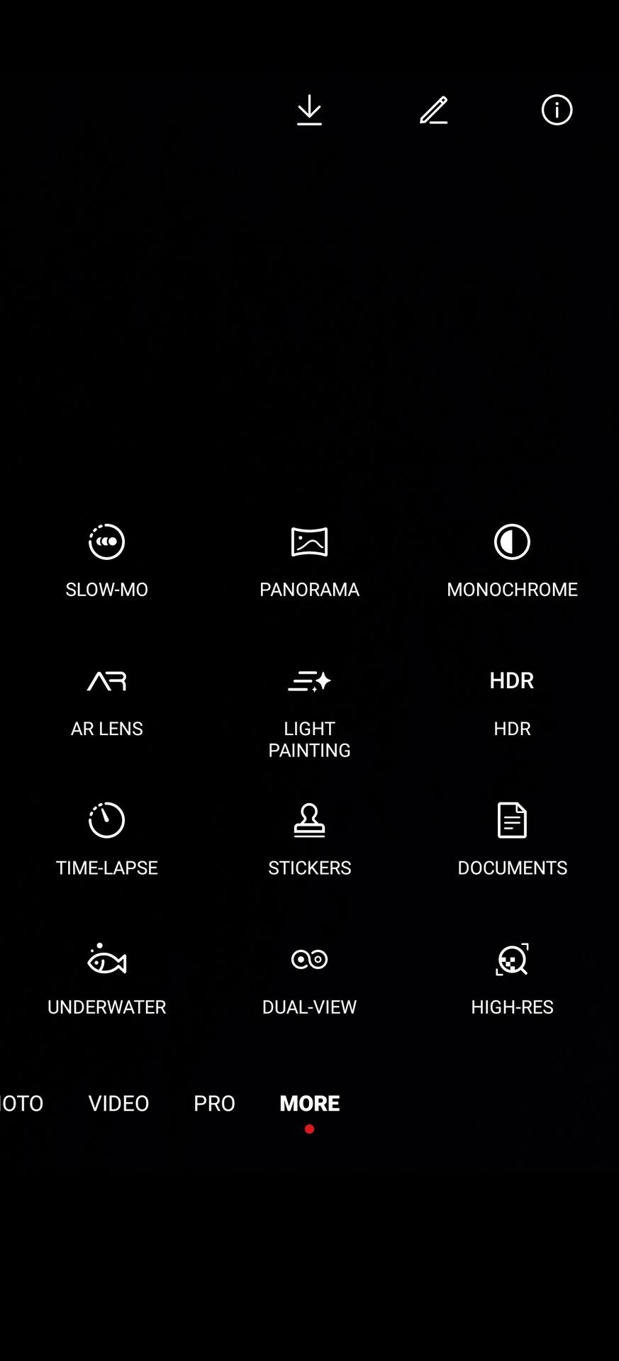 Camera app Huawei P40 Pro More Modes