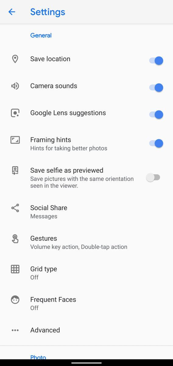 Google Pixel 4 XL camera app settings