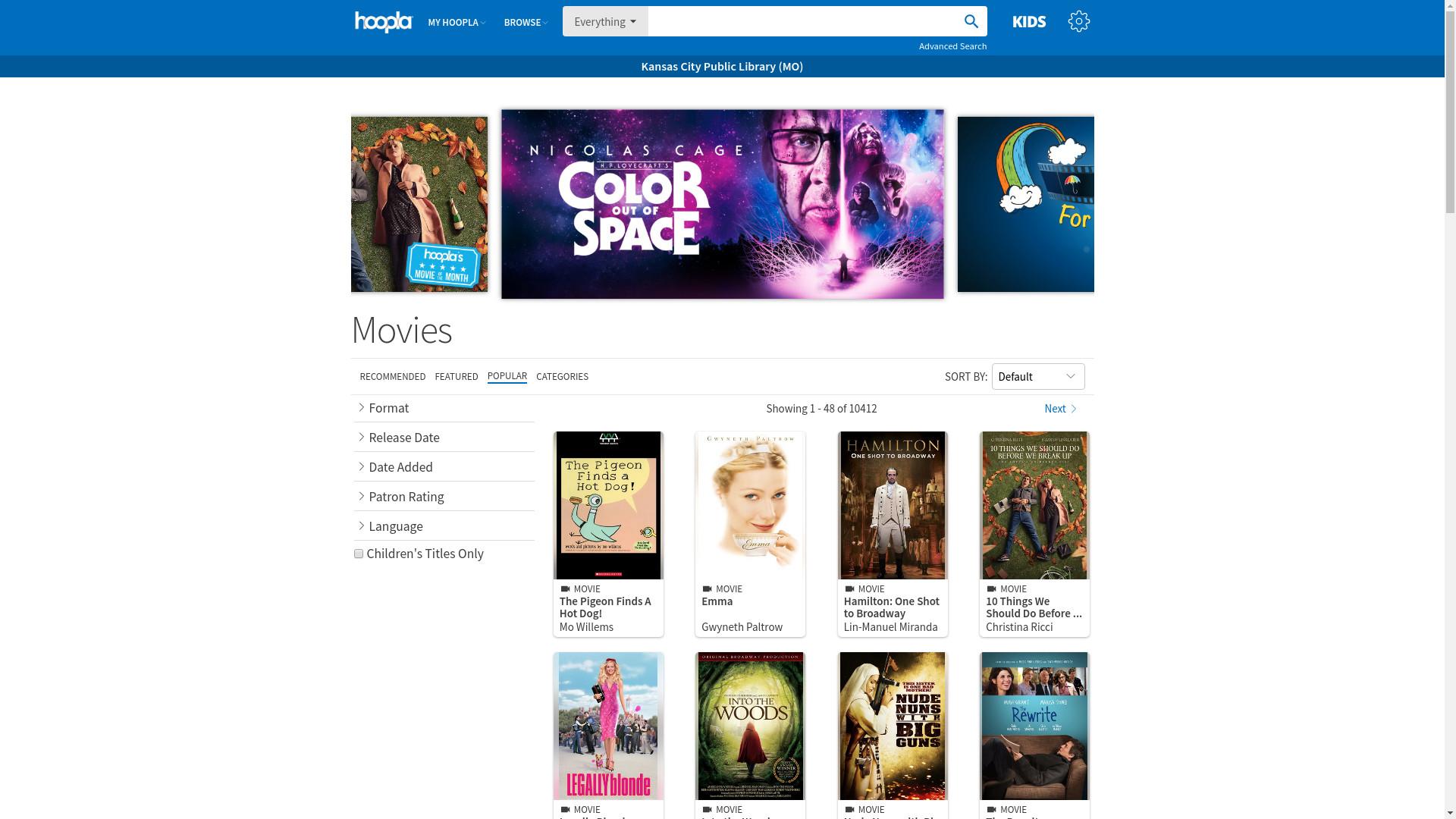 Hoopla home page