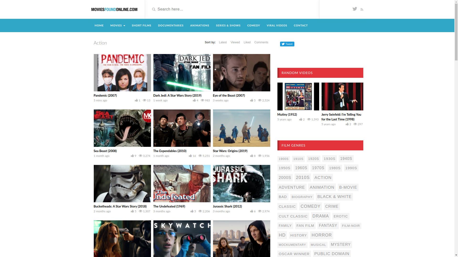 Movies Found Online homepage
