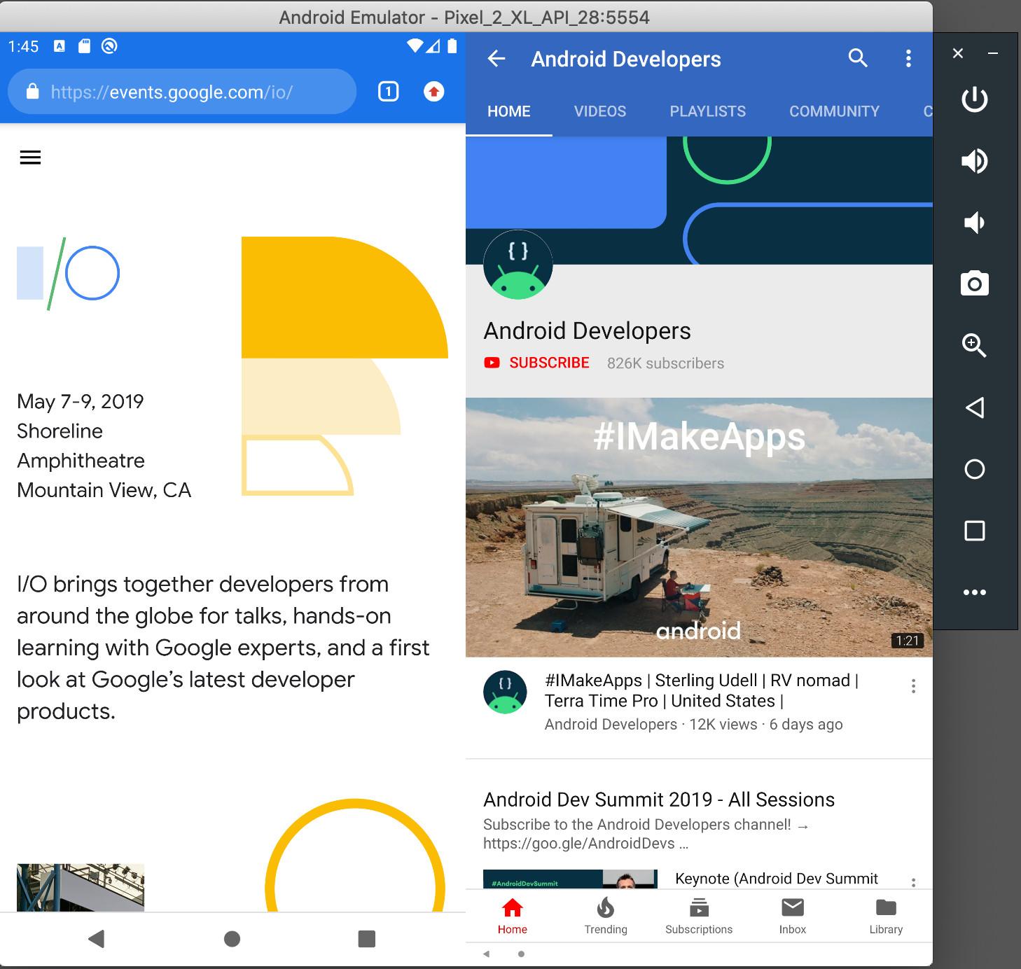 Multiple displays Android Emulator Android Studio 36