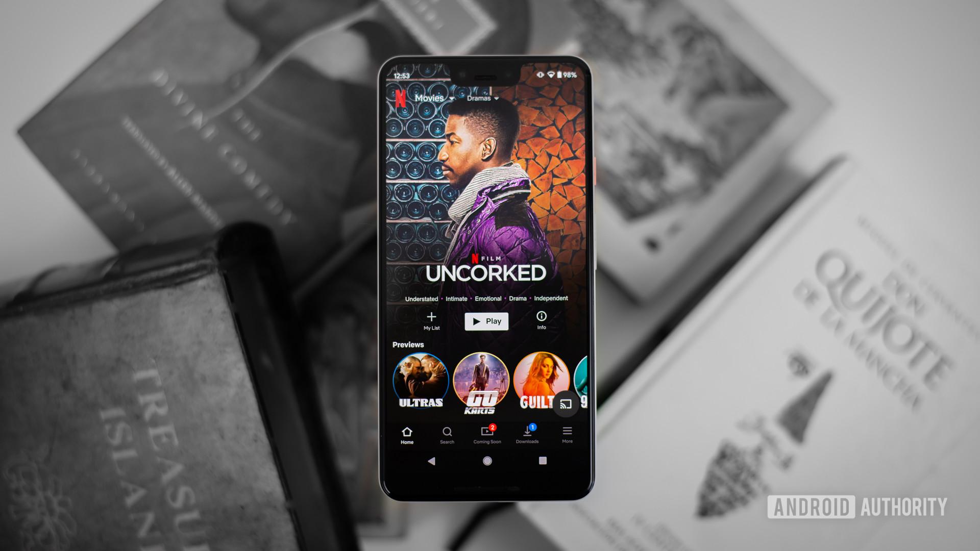 Netflix dramas on smartphone stock photo 1