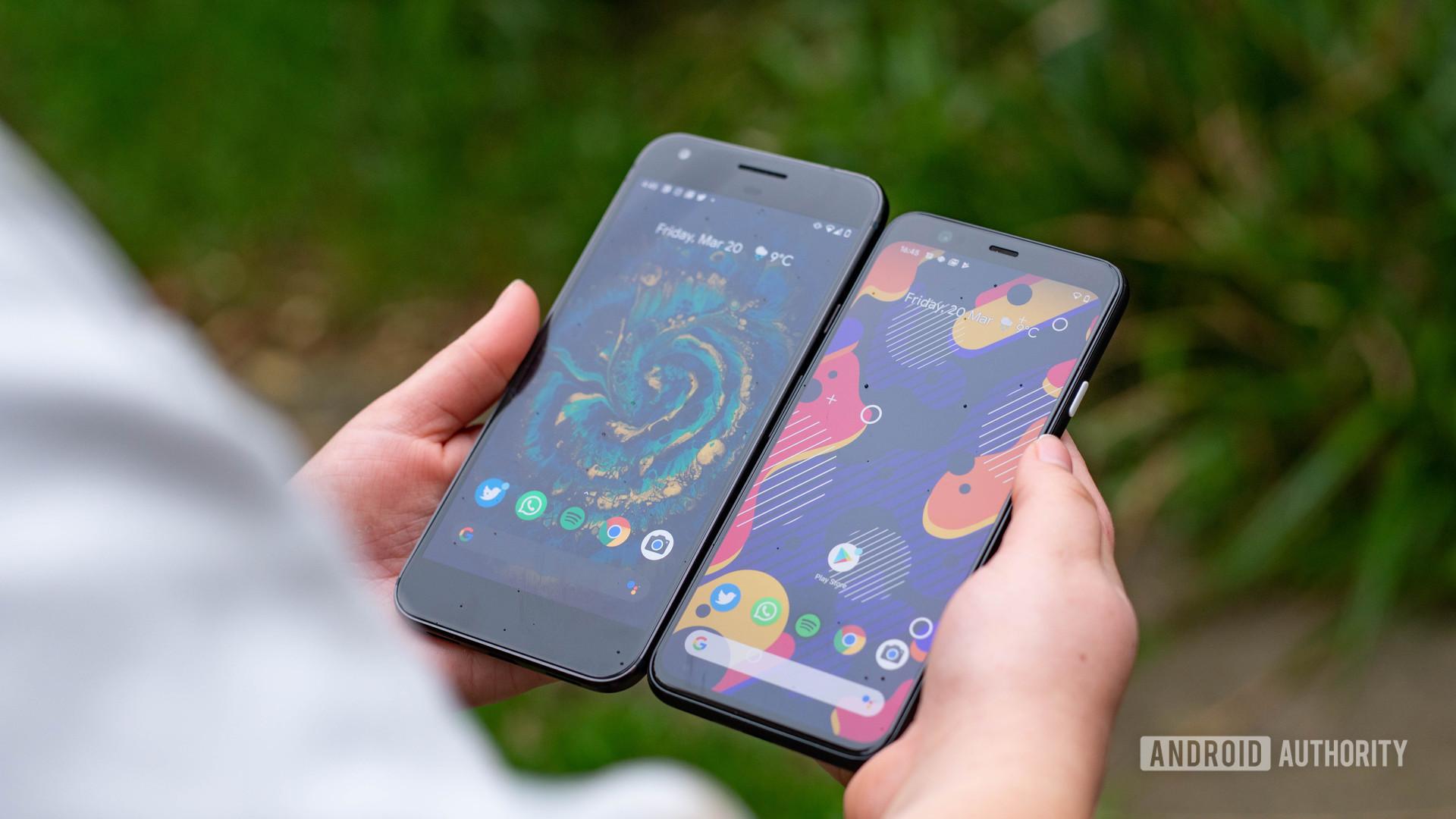 Pixel 1 next to the Pixel 4
