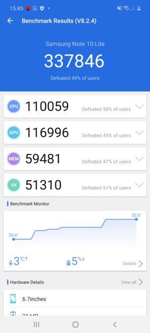 Samsung Galaxy Note 10 Lite AnTuTu benchmark