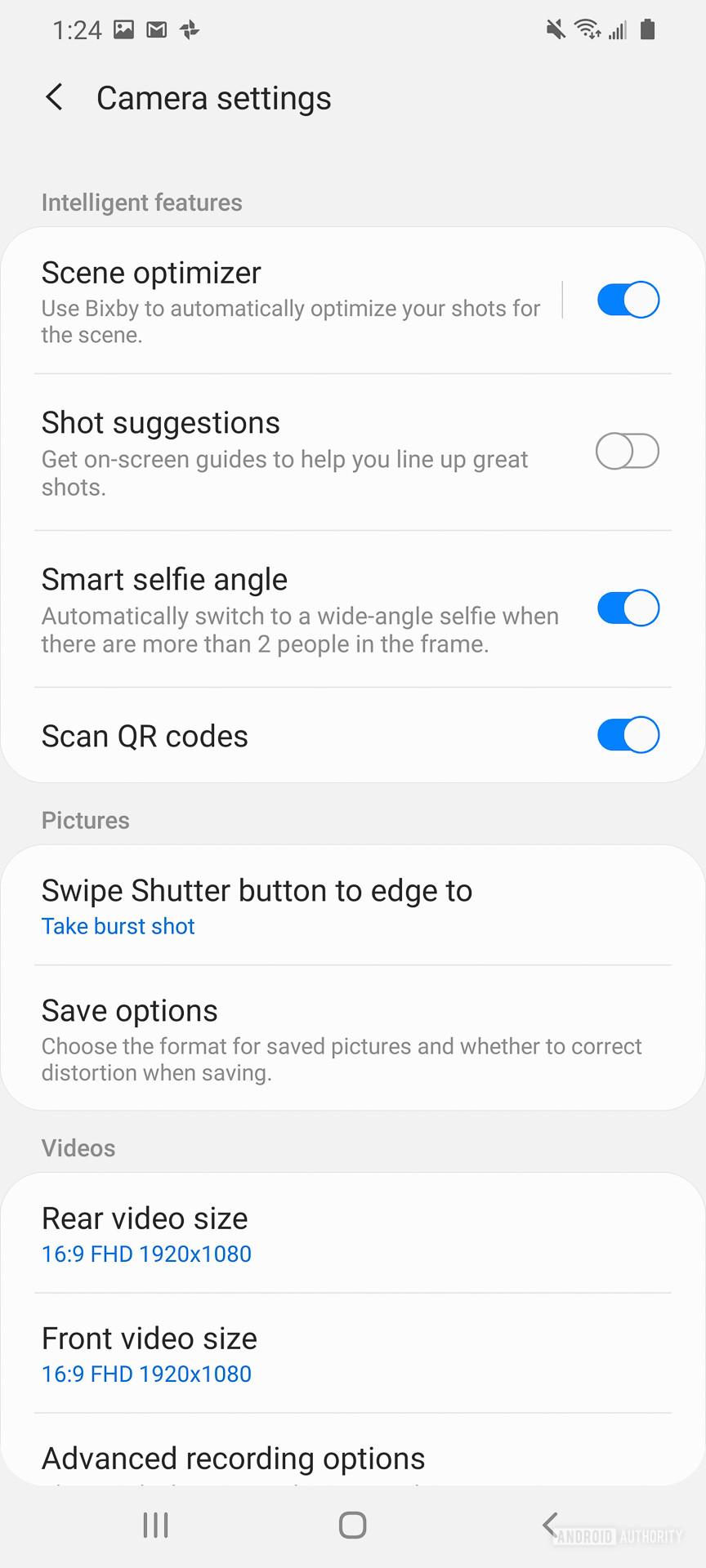 Samsung Galaxy S20 Ultra camera app settings