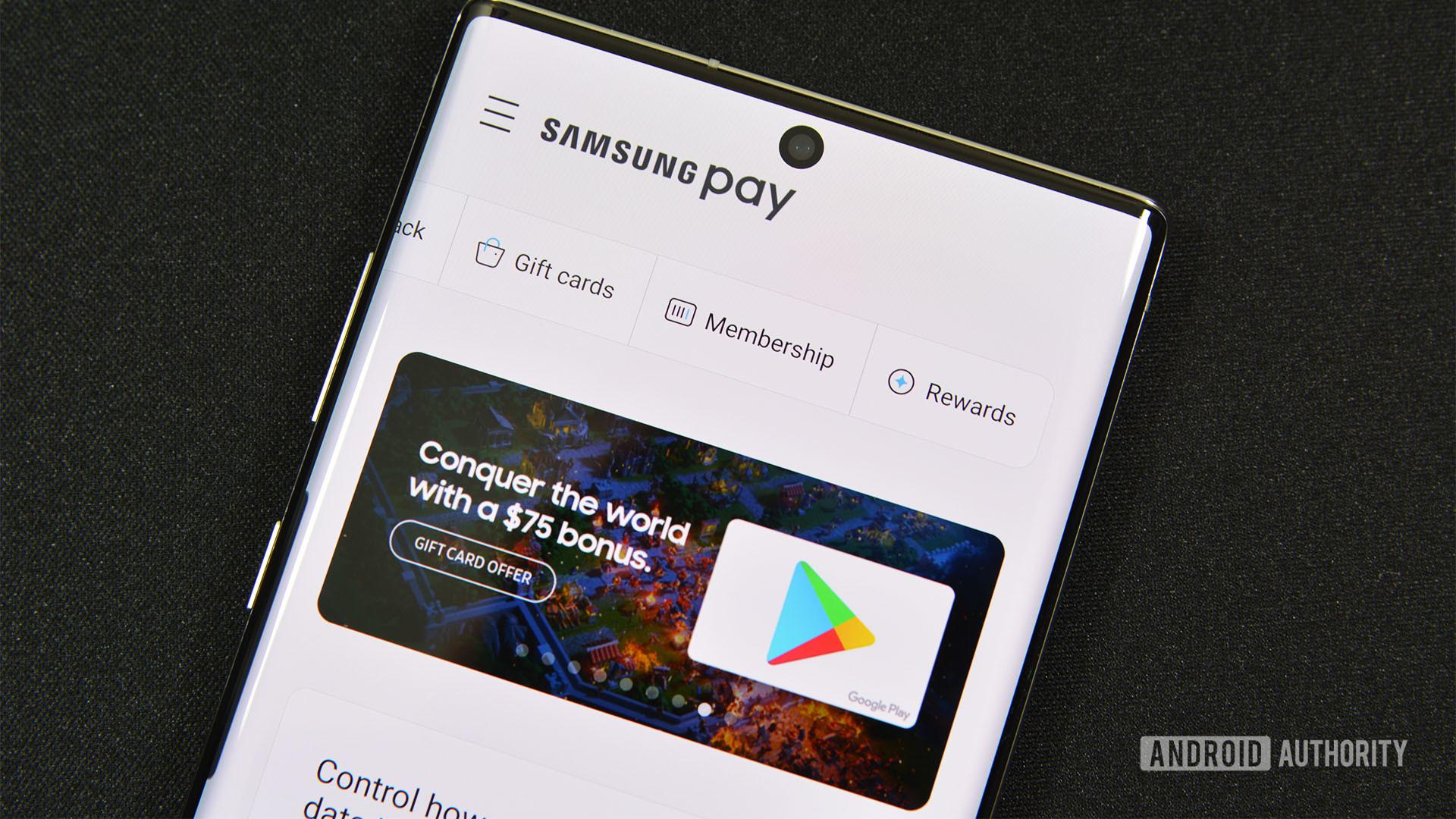 Samsung Pay main screen