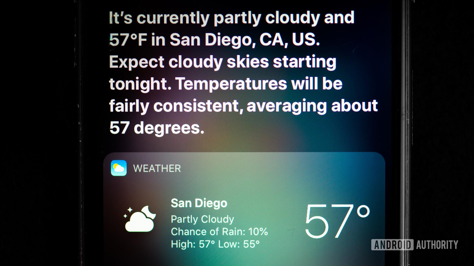 Siri command weather