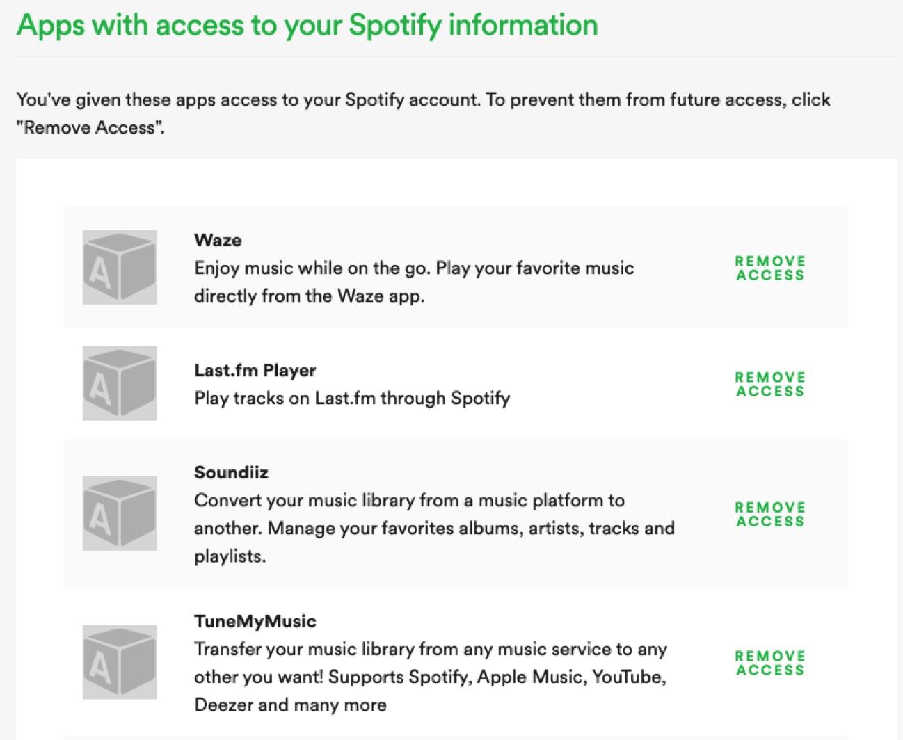 Spotify revoke access
