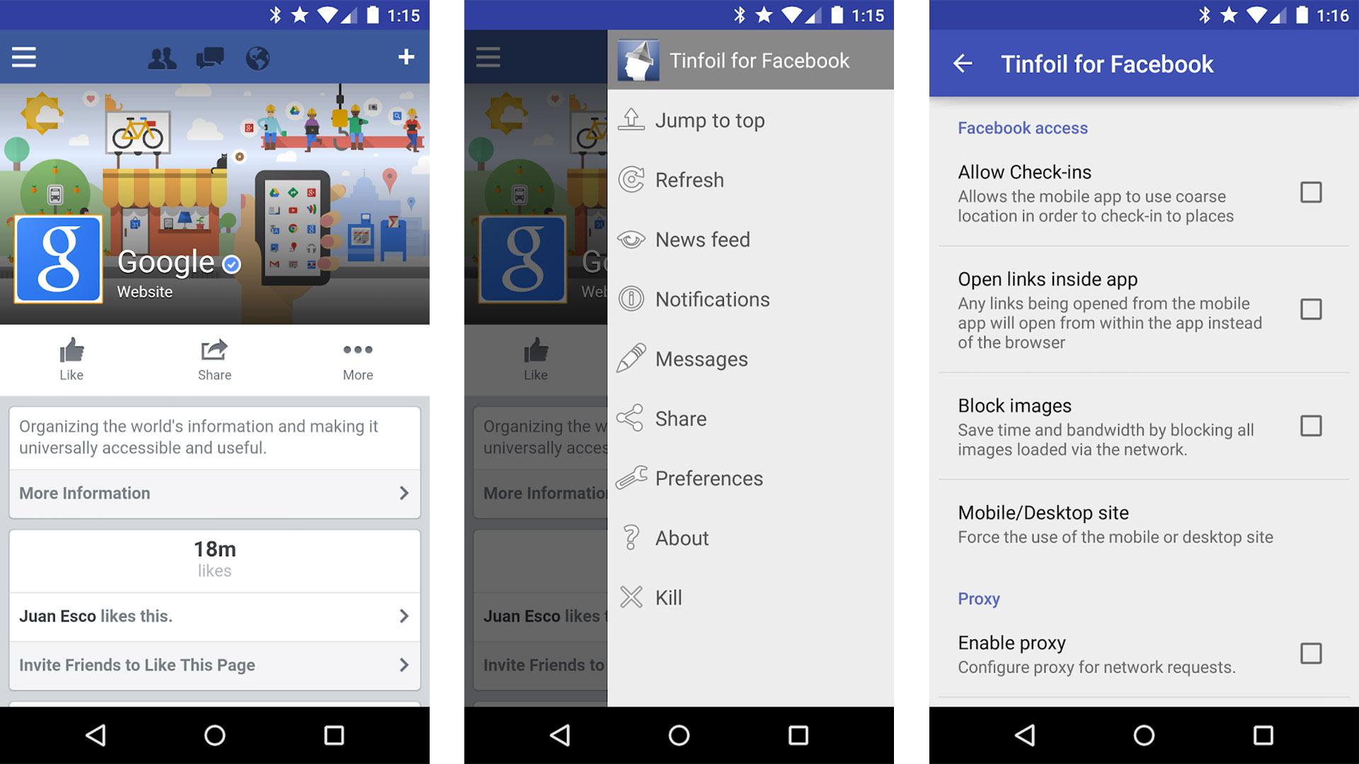 Tinfoil for Facebook screenshot 2020