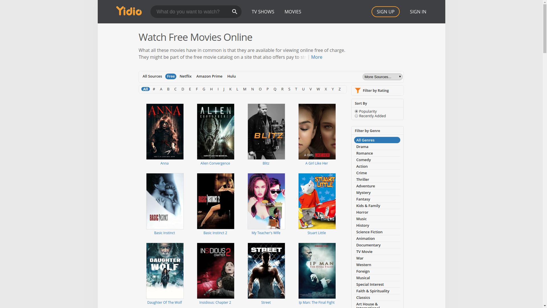 Yidio free movies online