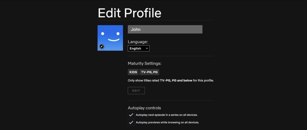 edit profile netflix