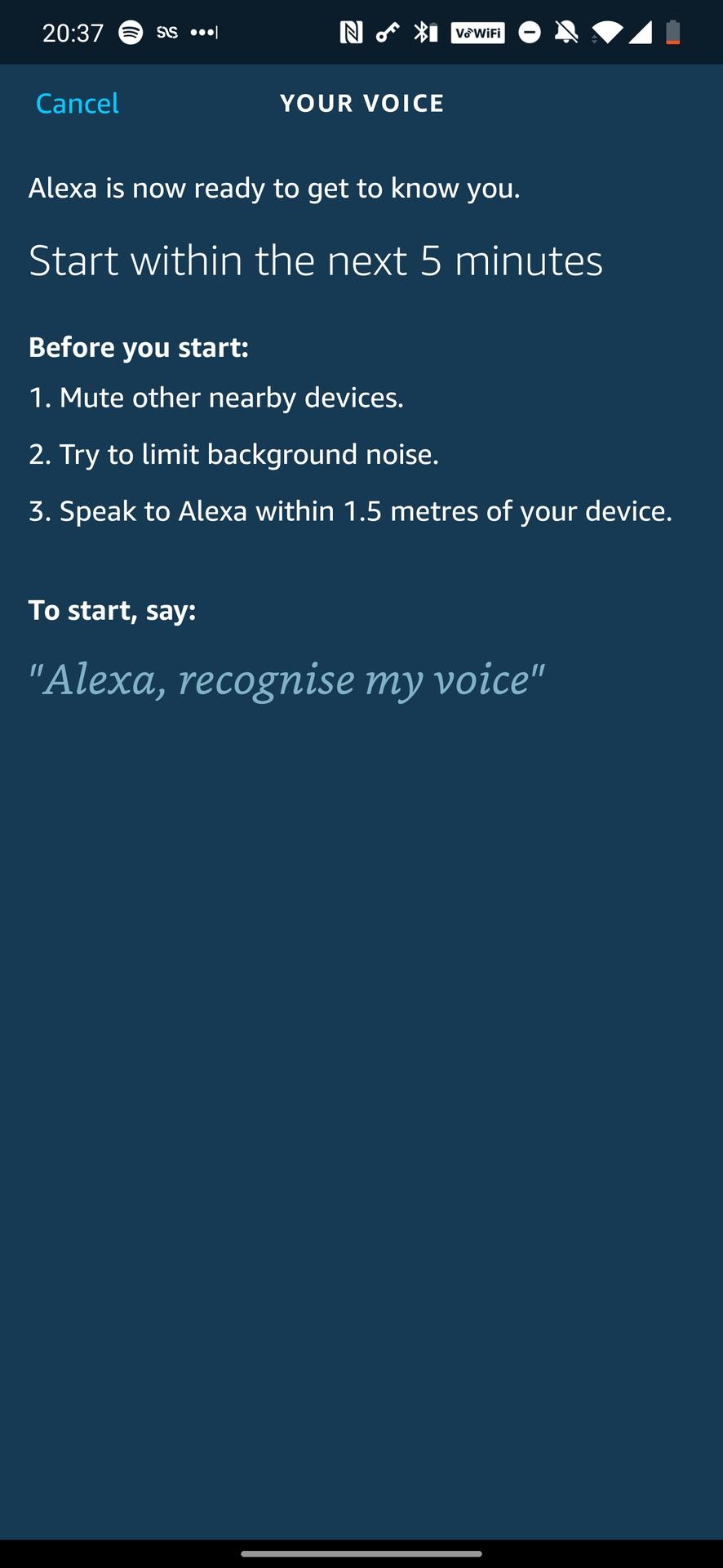 Alexa Voice Set up process
