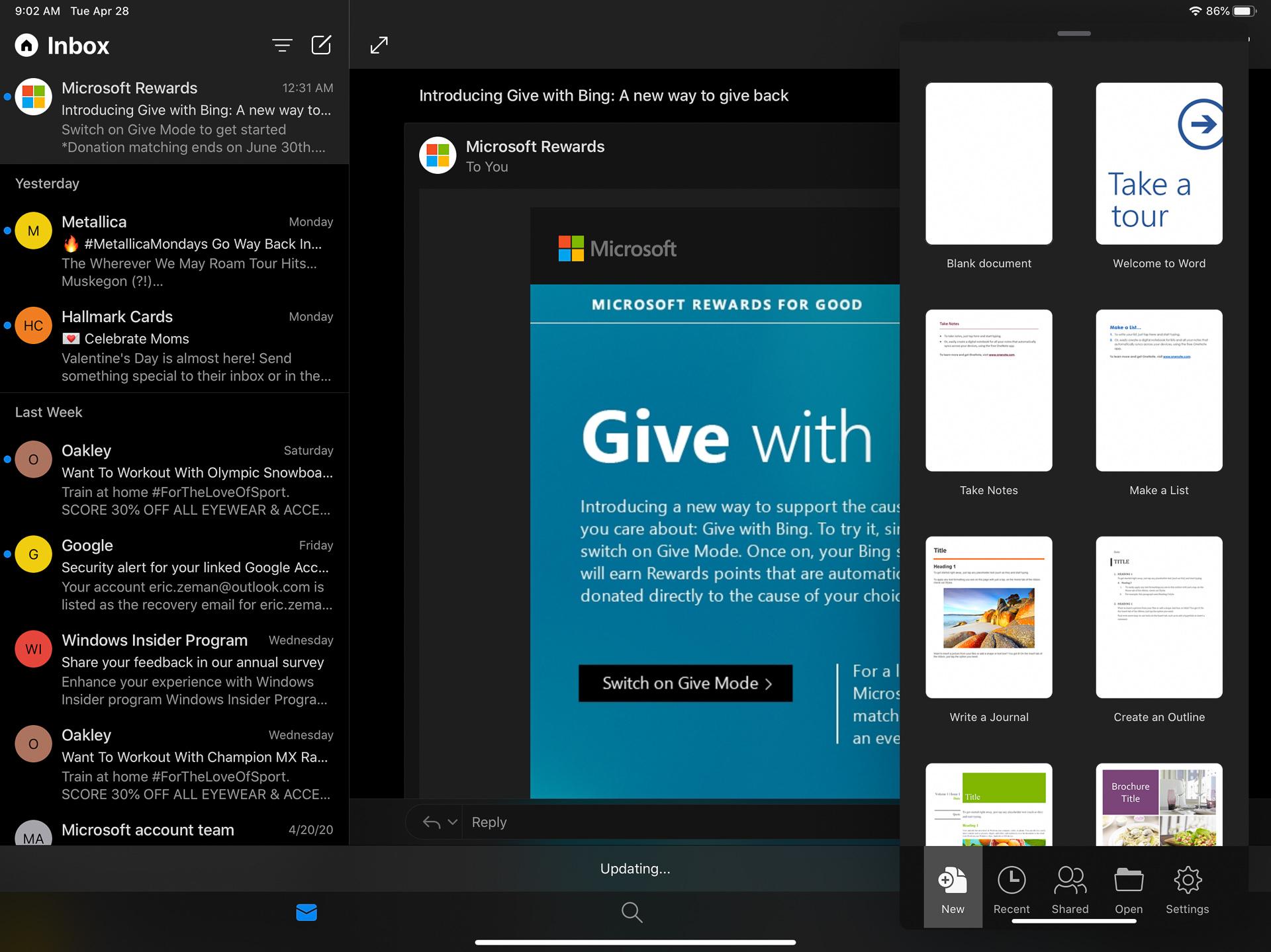 Apple iPad Pro 2020 Microsoft apps