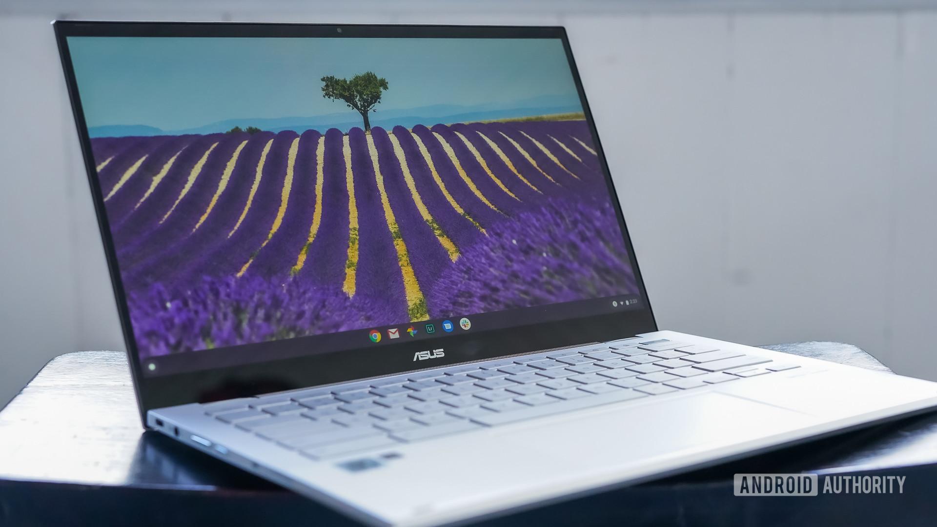 Asus Chromebook Flip C436 review front left profile