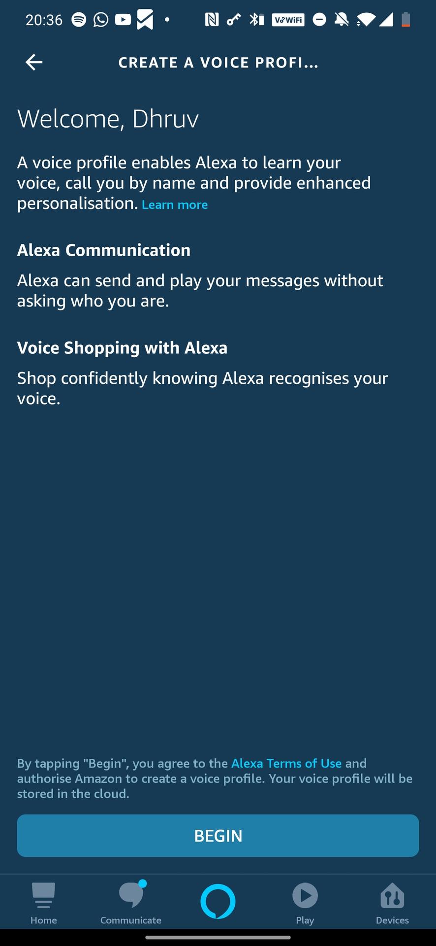 Create an Alexa Voice Profile
