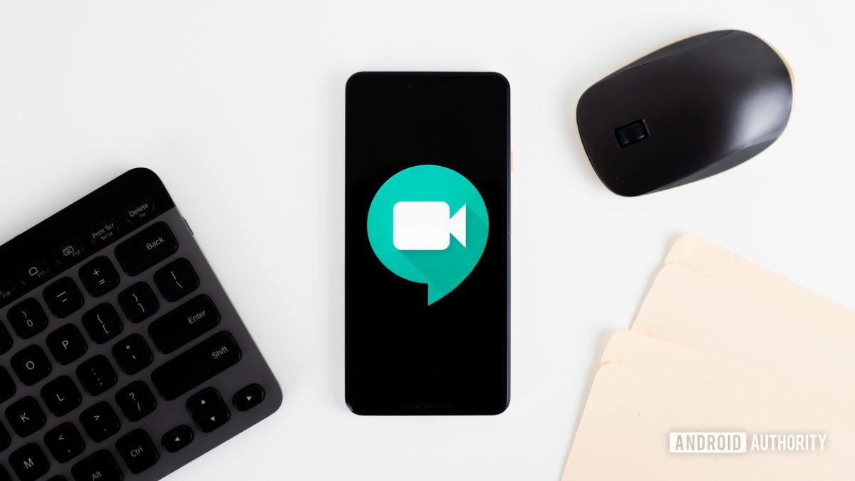 Hangouts Meet on smartphone stock photo