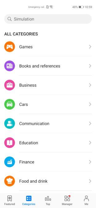 Huawei AppGallery Categories