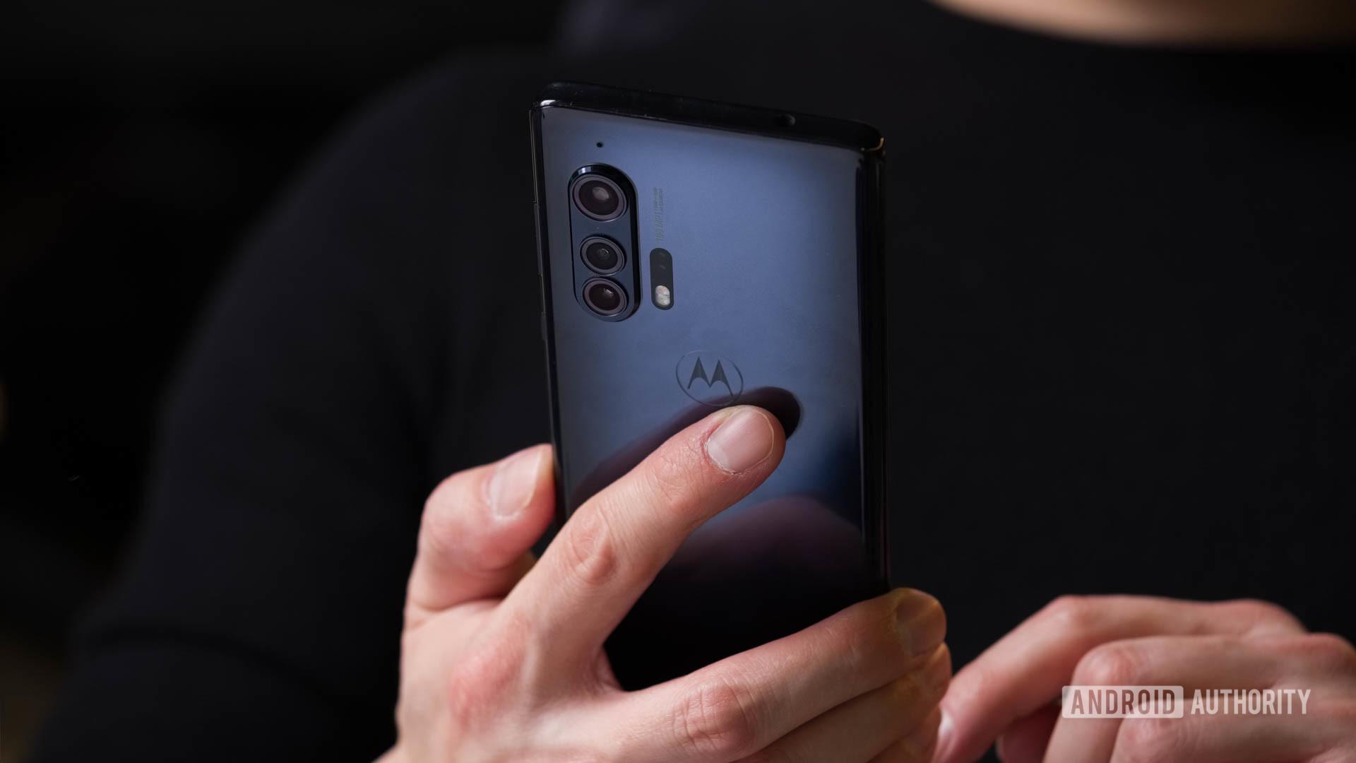 Motorola Edge using in hand 2