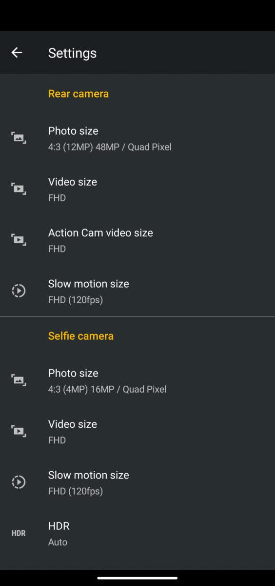 Motorola Moto G user interface camera settings
