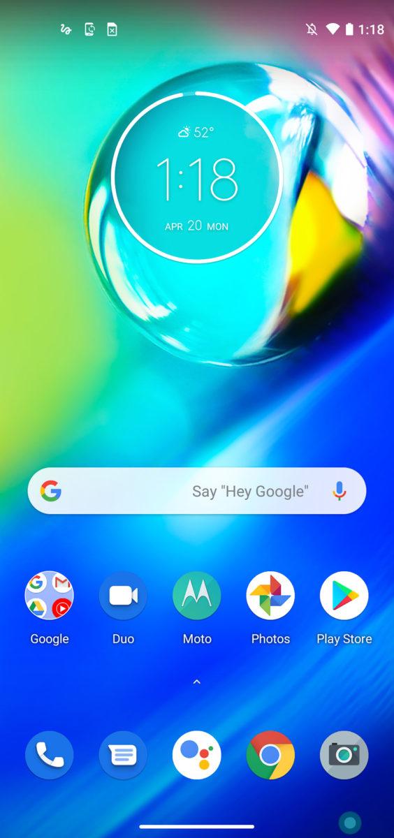 Motorola Moto G user interface home screen