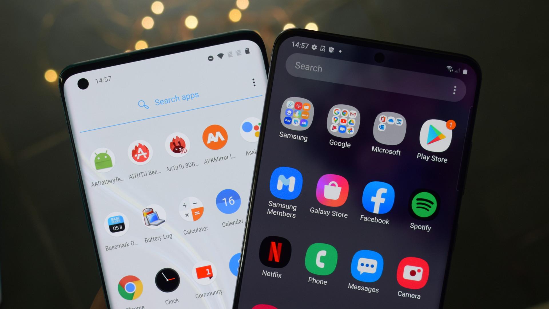 OxgenOS vs One UI App drawer