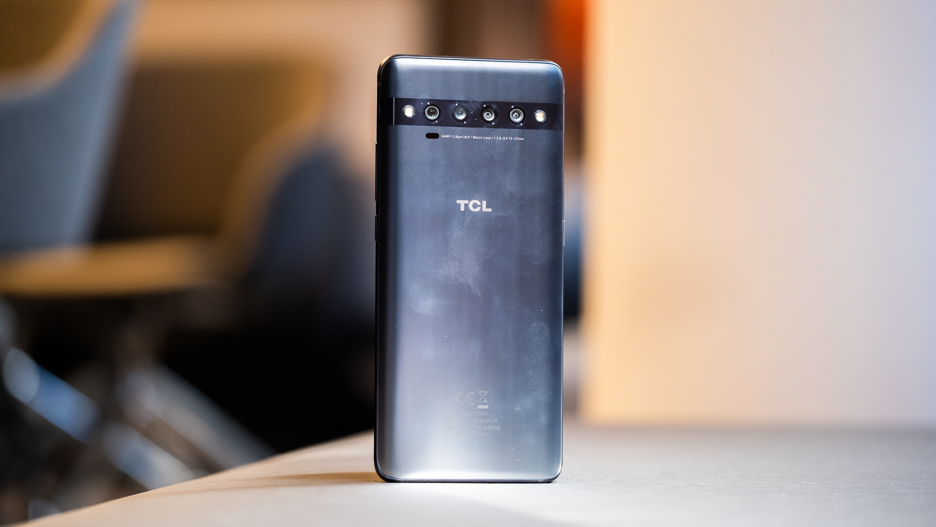 TCL 10 Pro back standing up grey