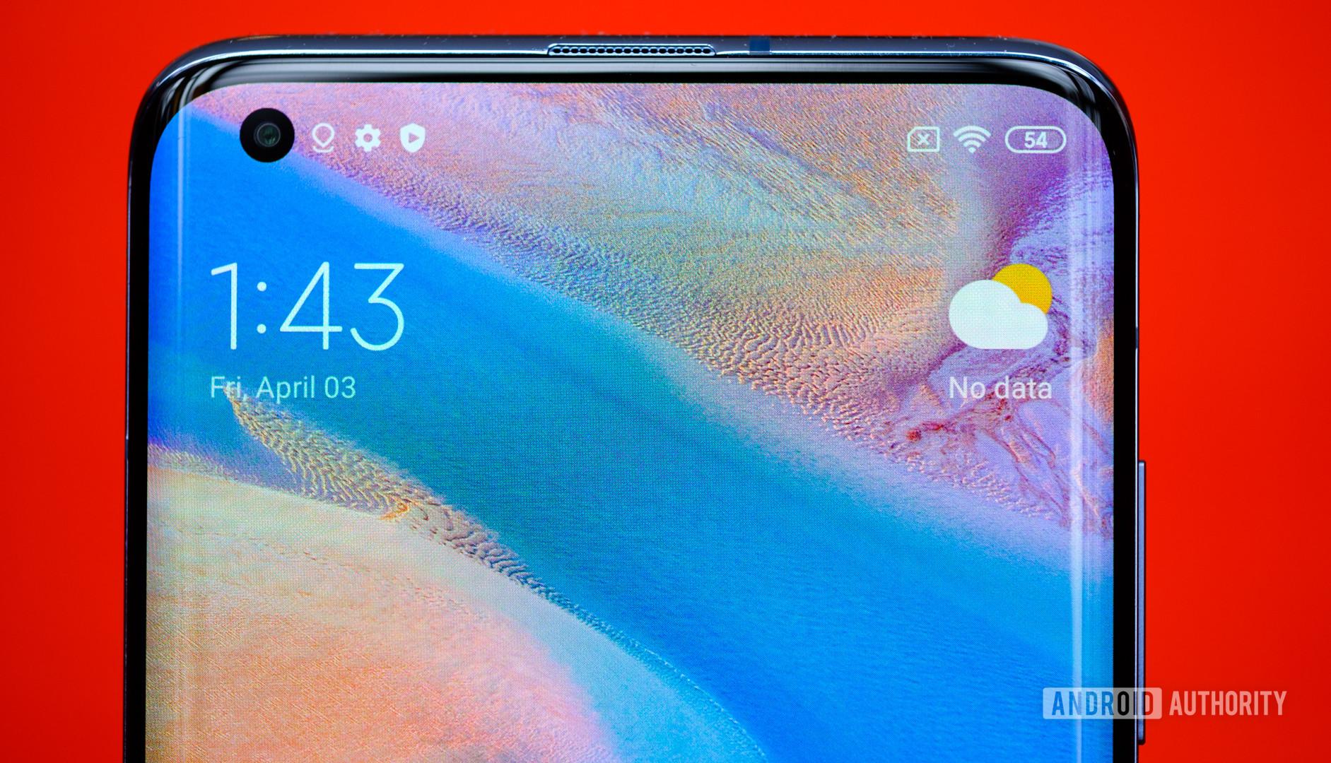 Xiaomi Mi 10 Pro top half of display