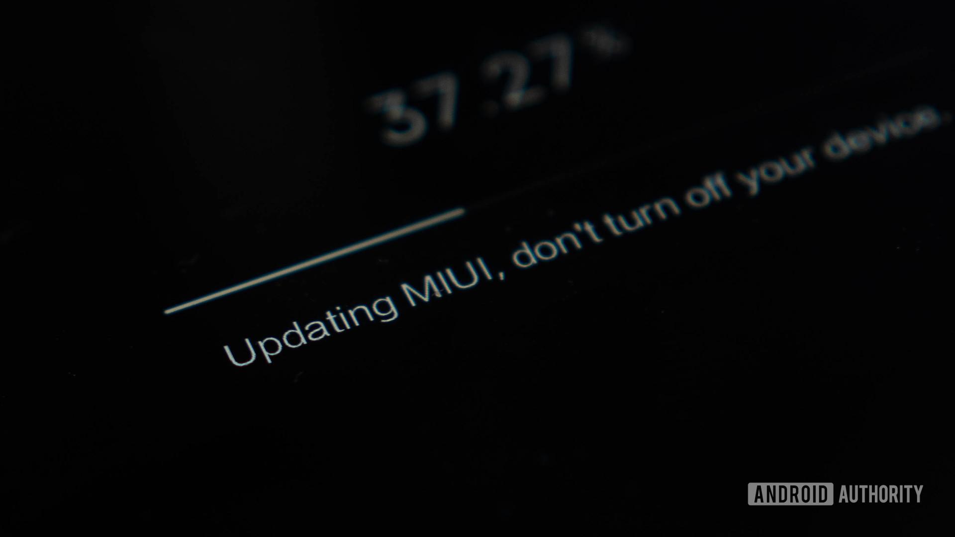 Layar pembaruan perangkat lunak Xiaomi