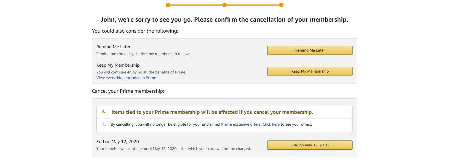 amazon prime cancel membership screen 3
