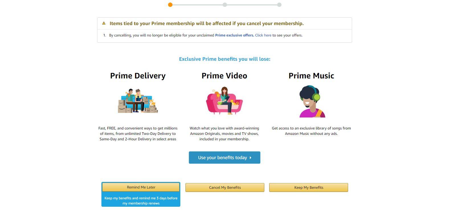 amazon prime cancel membership screen