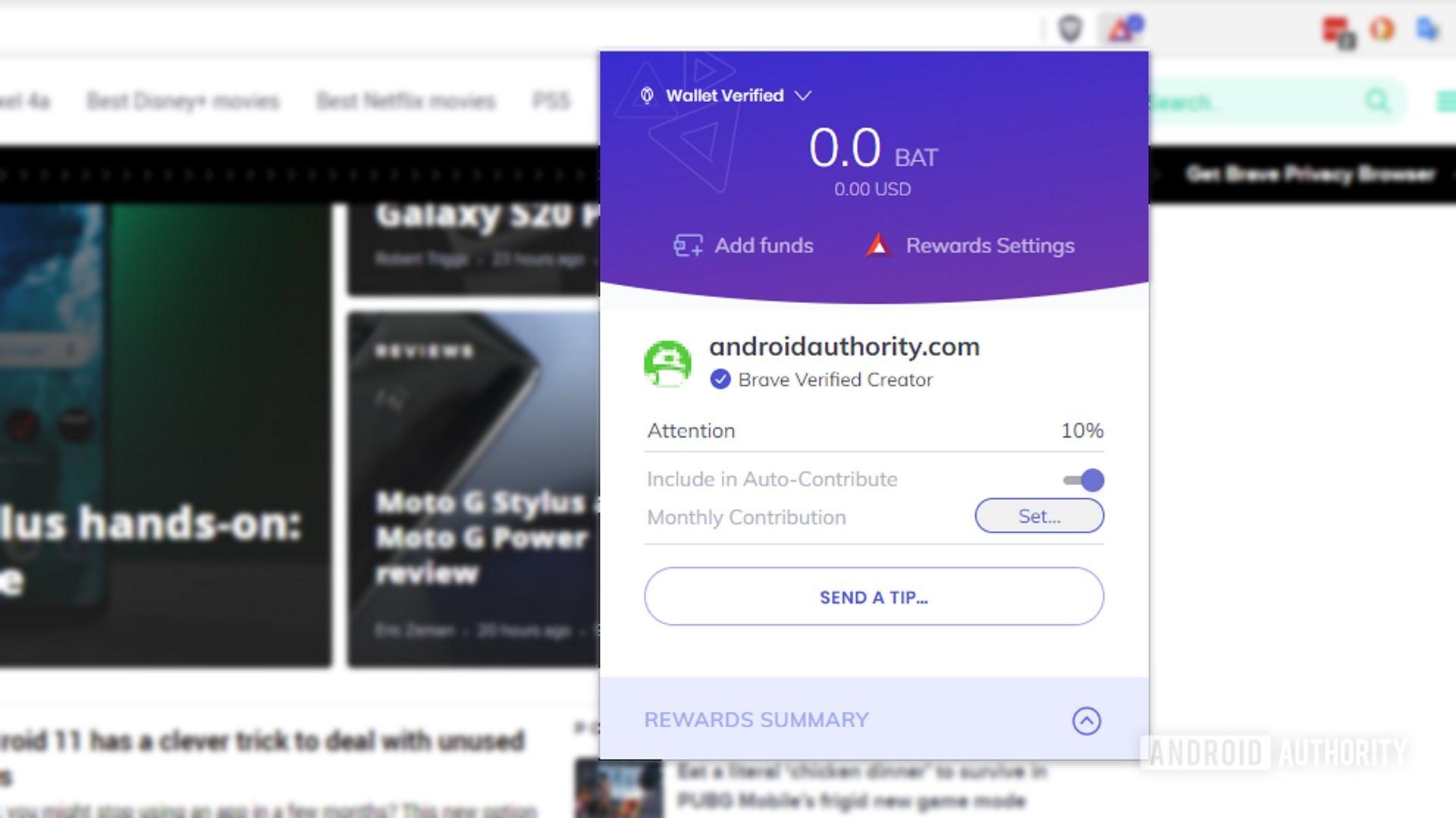 brave web browser brave rewards per site