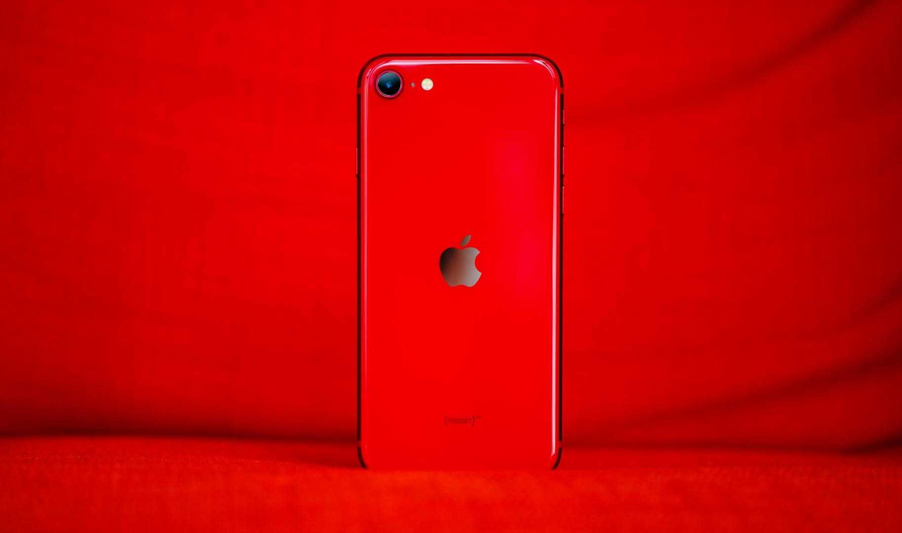 iPhone SE back straight on