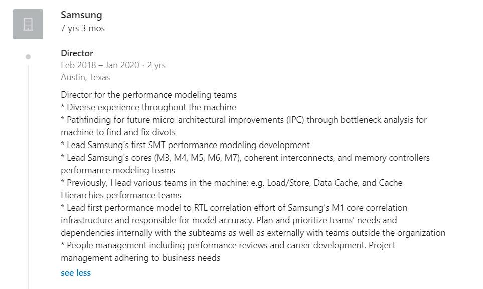 A LinkedIn account referencing an unannounced Samsung custom CPU.
