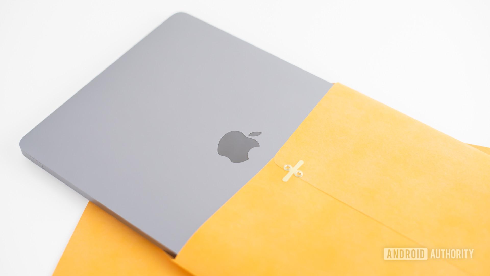 2020 MacBook Air review laptop inside manila envelope2